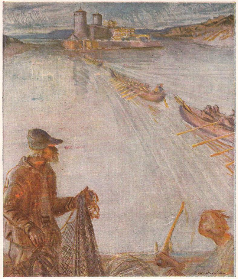 Pietari Kylliäisen sotajoukot lähdössä Olavinlinnasta ryssää vastaan. Aarno Karimon kuvitusta teoksesta Kumpujen yöstä..